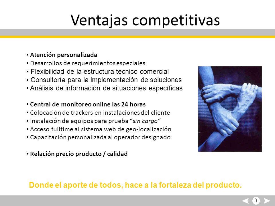 Ventajas competitivas Atención personalizada Desarrollos de requerimientos especiales Flexibilidad de la estructura técnico comercial Consultoría para