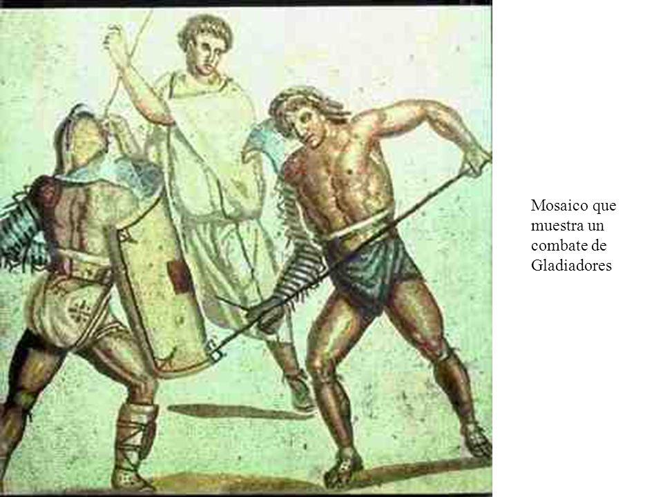 Mosaico que muestra un combate de Gladiadores