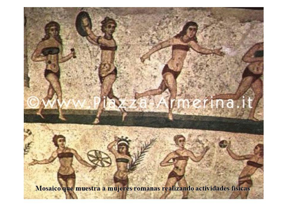 Mosaico que muestra a mujeres romanas realizando actividades físicas