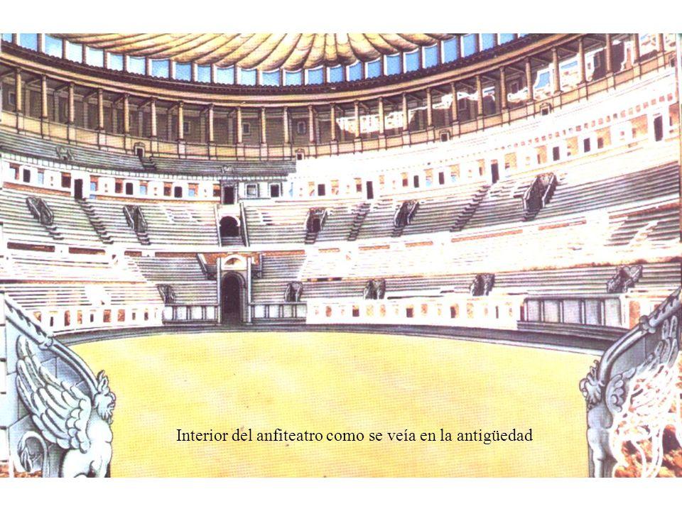 Interior del anfiteatro como se veía en la antigüedad