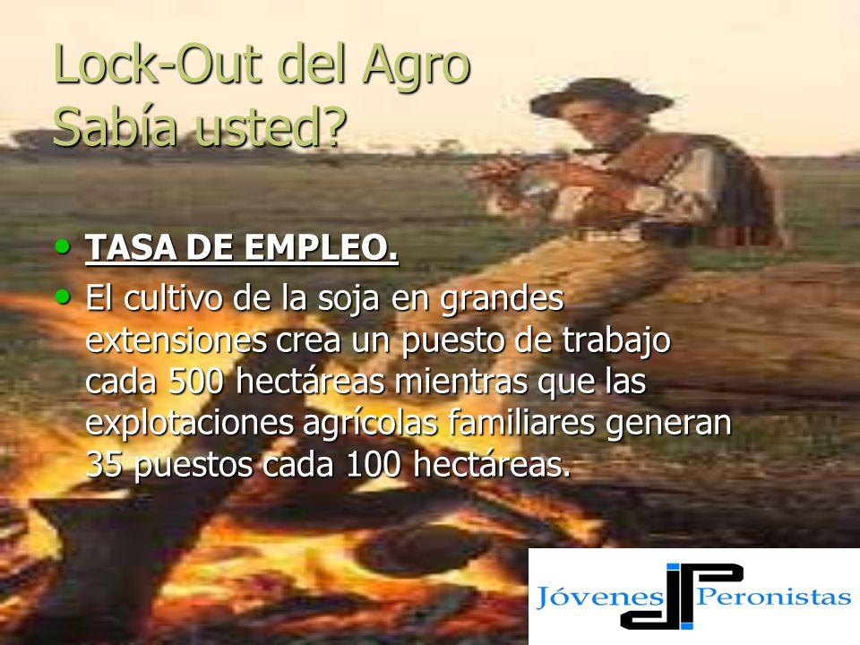 Lock-Out del Agro Sabía usted? TASA DE EMPLEO. El cultivo de la soja en grandes extensiones crea un puesto de trabajo cada 500 hectáreas mientras que