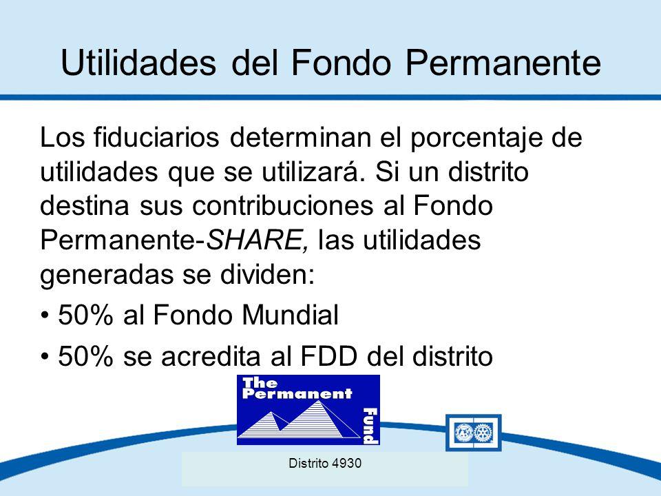 Seminario Distrital de La Fundación Rotaria del Distrito XXXX Utilidades del Fondo Permanente Los fiduciarios determinan el porcentaje de utilidades q