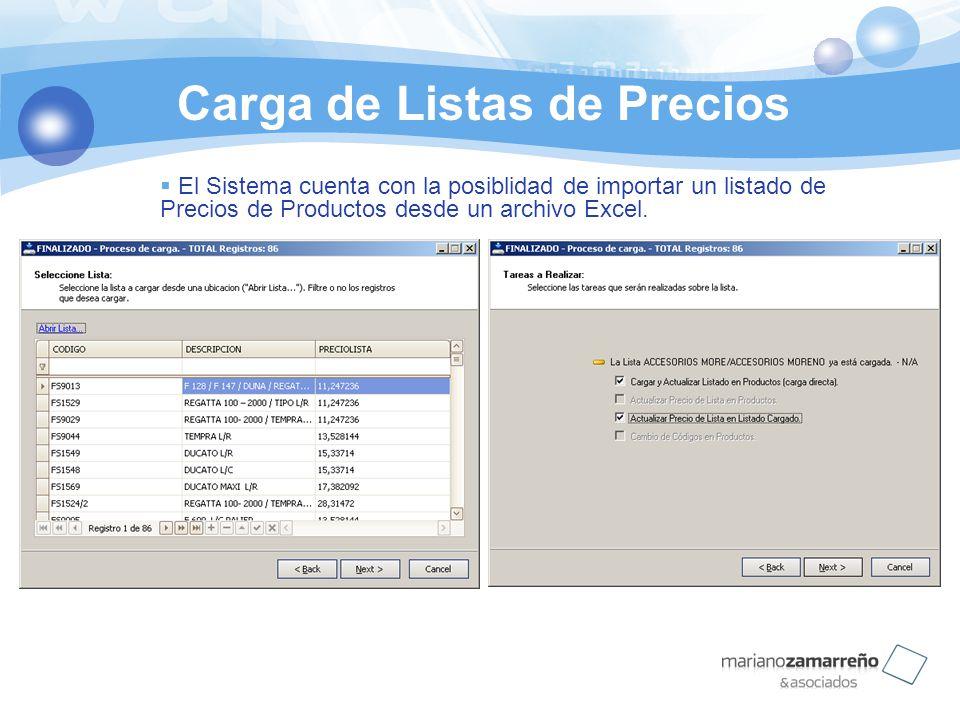 Carga de Listas de Precios El Sistema cuenta con la posiblidad de importar un listado de Precios de Productos desde un archivo Excel.