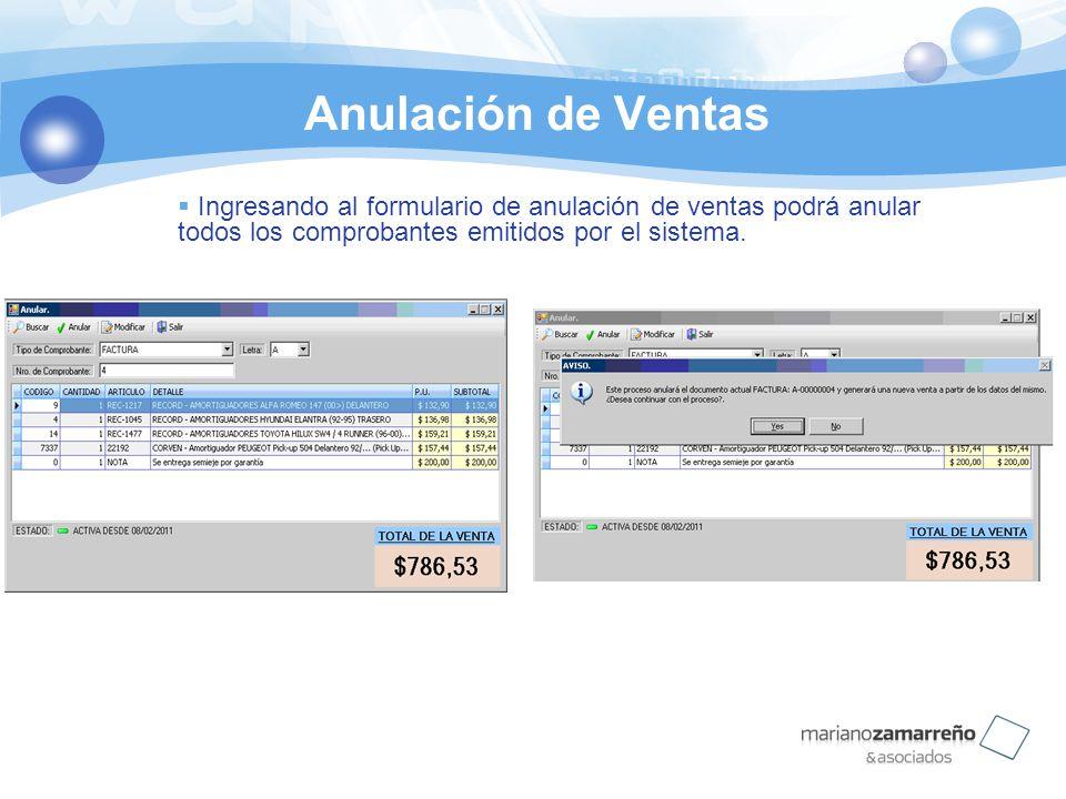 Anulación de Ventas Ingresando al formulario de anulación de ventas podrá anular todos los comprobantes emitidos por el sistema.