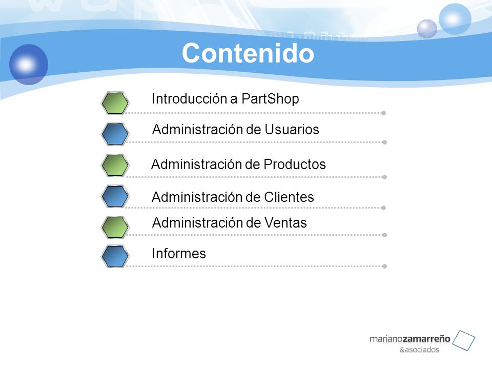 Contenido Introducción a PartShop Administración de Usuarios 2 Administración de Productos Administración de Clientes Administración de Ventas Informe