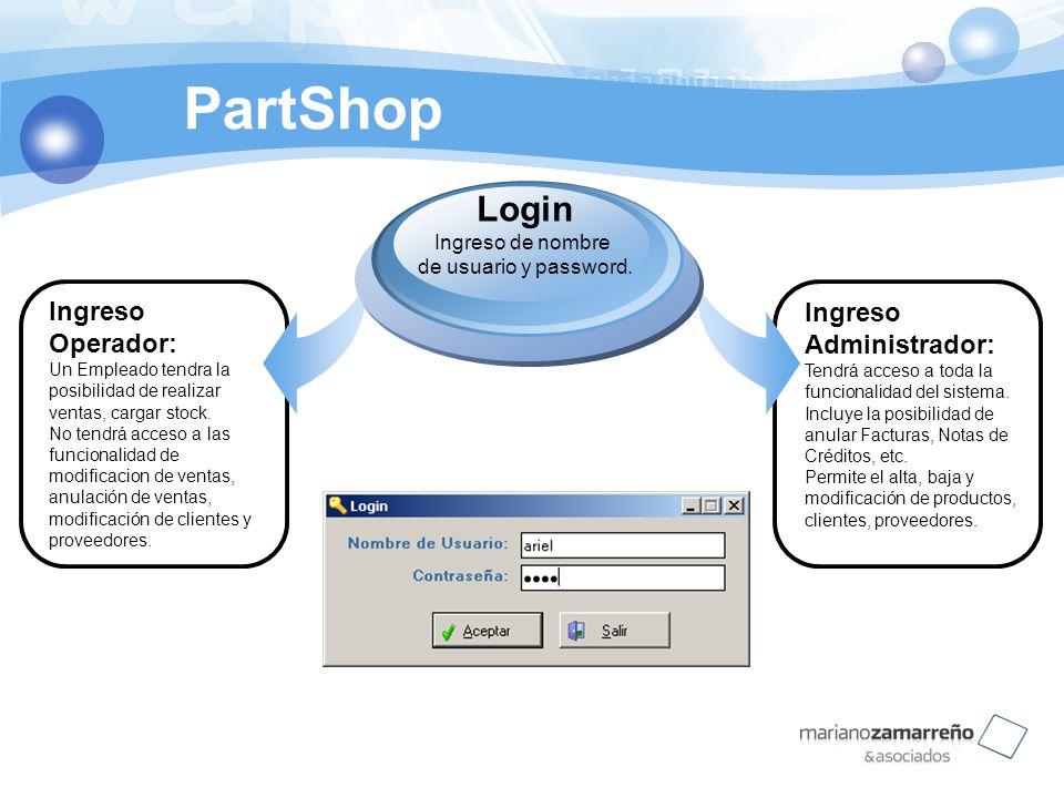 PartShop Ingreso Operador: Un Empleado tendra la posibilidad de realizar ventas, cargar stock. No tendrá acceso a las funcionalidad de modificacion de