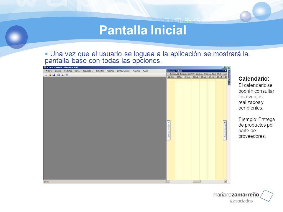 Pantalla Inicial Una vez que el usuario se loguea a la aplicación se mostrará la pantalla base con todas las opciones. Calendario: El calendario se po