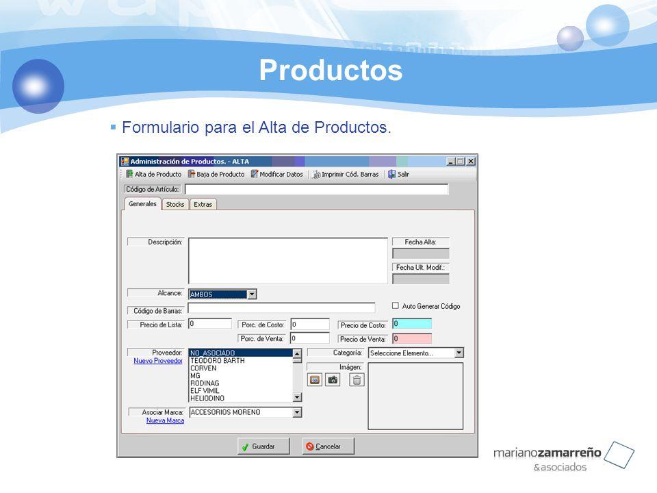 Productos Formulario para el Alta de Productos.