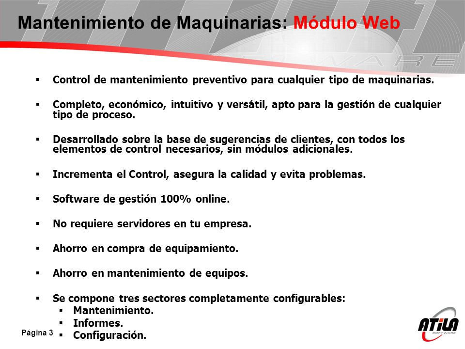 Control de mantenimiento preventivo para cualquier tipo de maquinarias. Completo, económico, intuitivo y versátil, apto para la gestión de cualquier t