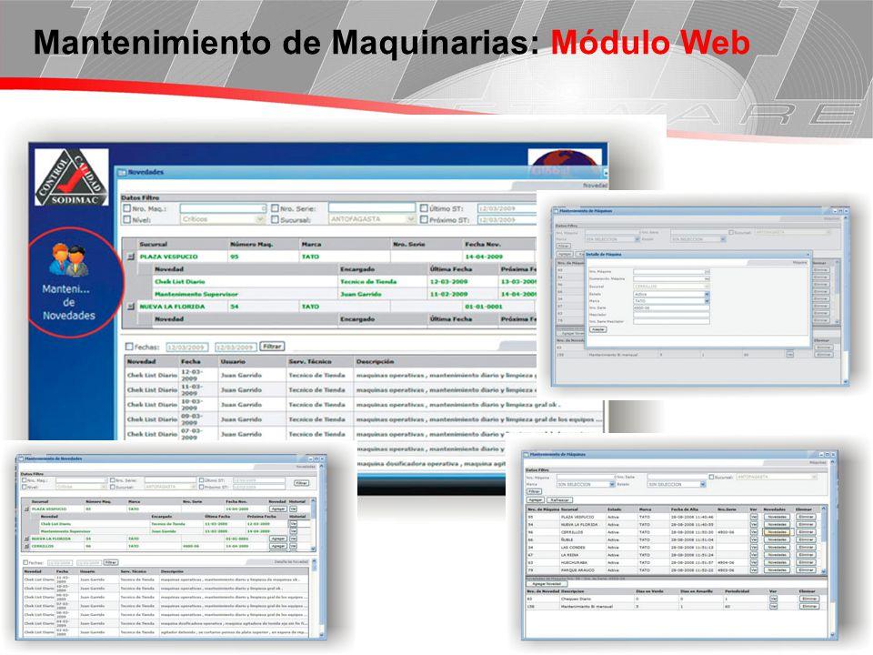 Página 4 Mantenimiento de Maquinarias: Módulo Web