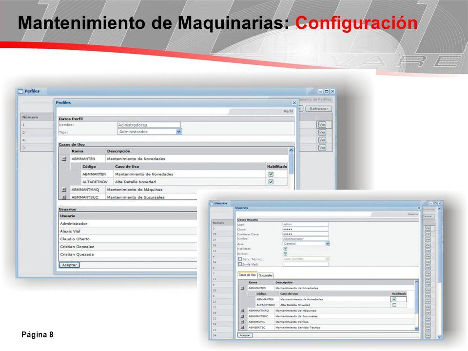 Página 8 Mantenimiento de Maquinarias: Configuración