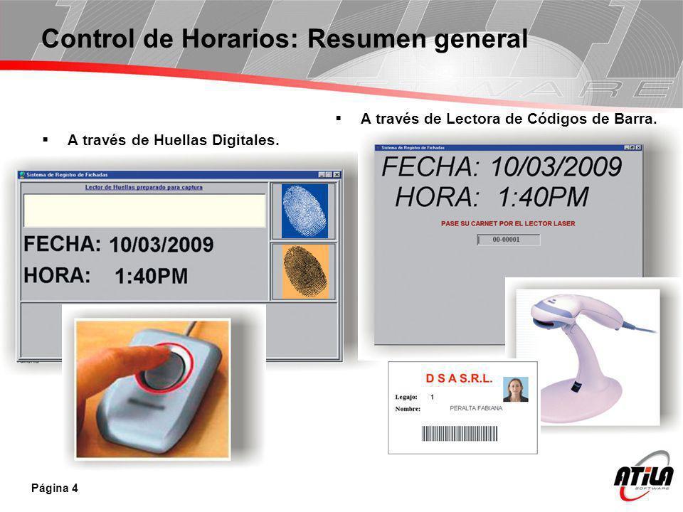 Control de Horarios: Resumen general A través de Huellas Digitales. Página 4 A través de Lectora de Códigos de Barra.