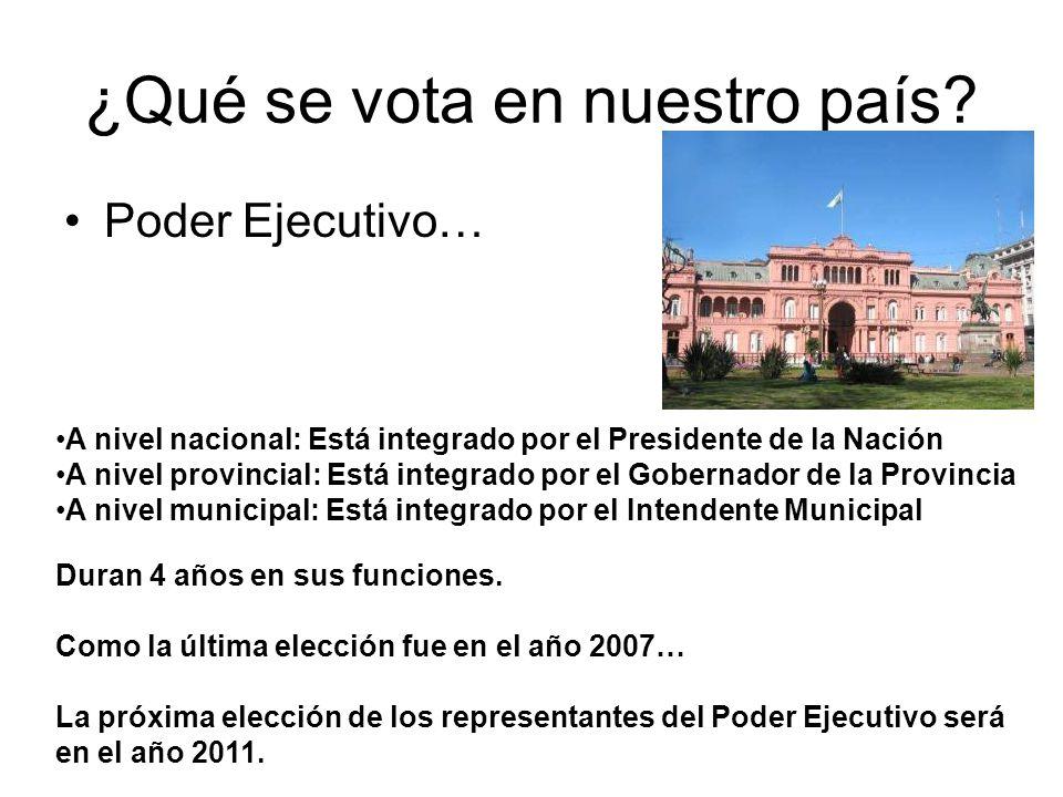 ¿Qué se vota en nuestro país? Poder Ejecutivo… A nivel nacional: Está integrado por el Presidente de la Nación A nivel provincial: Está integrado por