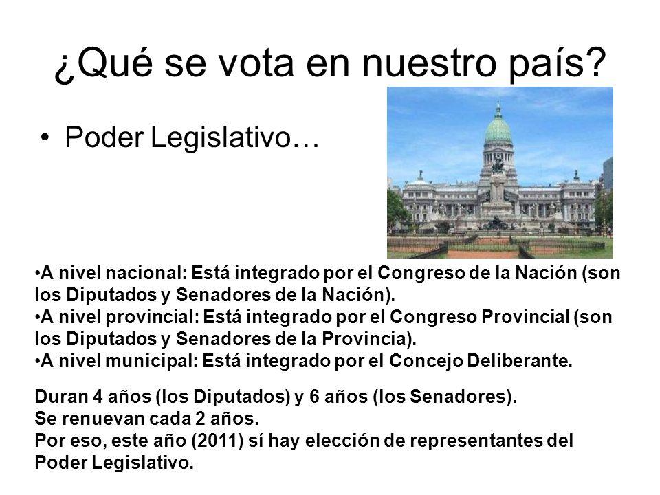 ¿Qué se vota en nuestro país? Poder Legislativo… A nivel nacional: Está integrado por el Congreso de la Nación (son los Diputados y Senadores de la Na