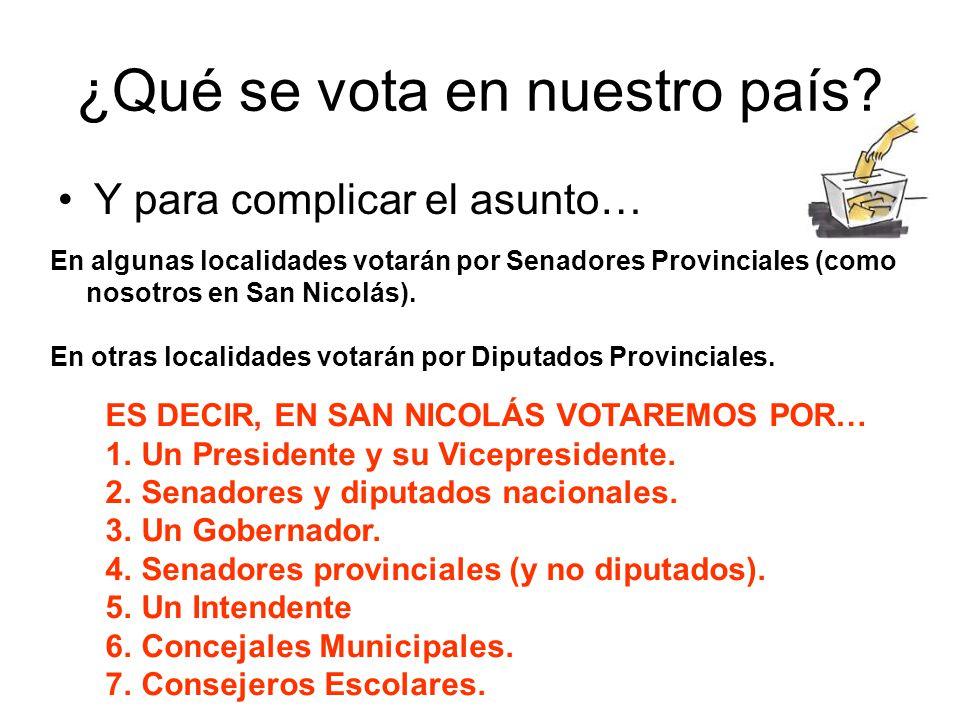 ¿Qué se vota en nuestro país? Y para complicar el asunto… En algunas localidades votarán por Senadores Provinciales (como nosotros en San Nicolás). En