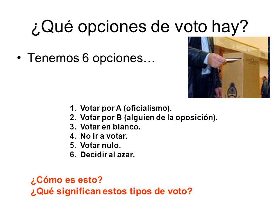 ¿Qué opciones de voto hay? Tenemos 6 opciones… 1.Votar por A (oficialismo). 2.Votar por B (alguien de la oposición). 3.Votar en blanco. 4.No ir a vota