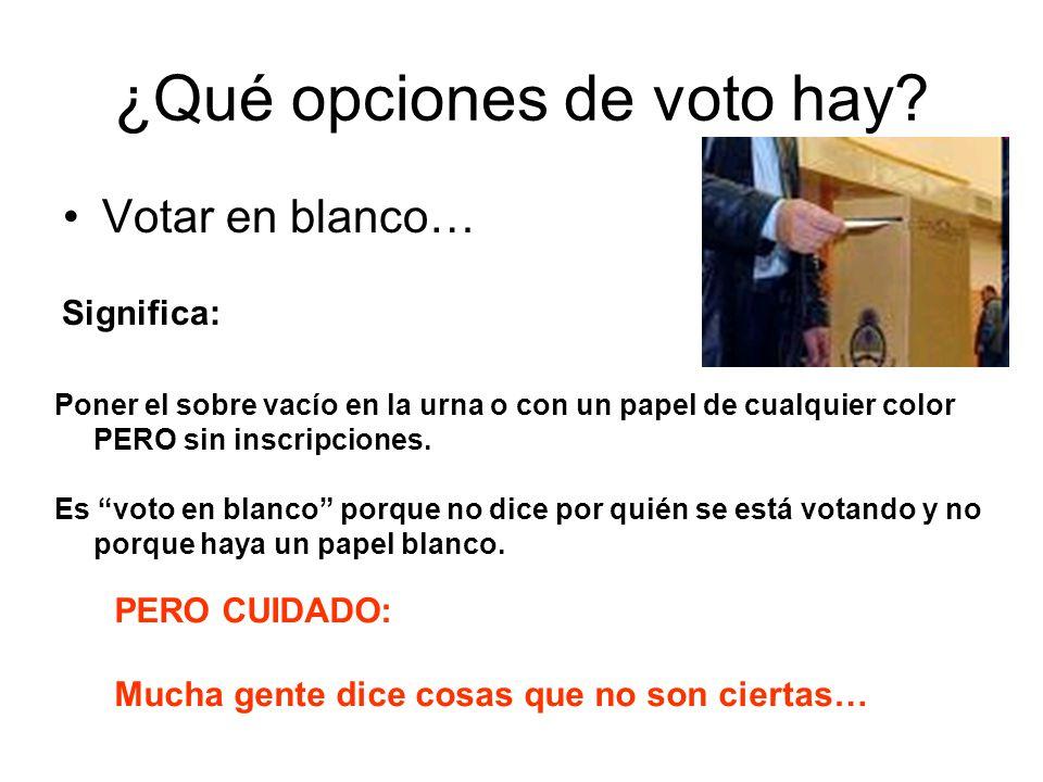 ¿Qué opciones de voto hay? Votar en blanco… Poner el sobre vacío en la urna o con un papel de cualquier color PERO sin inscripciones. Es voto en blanc