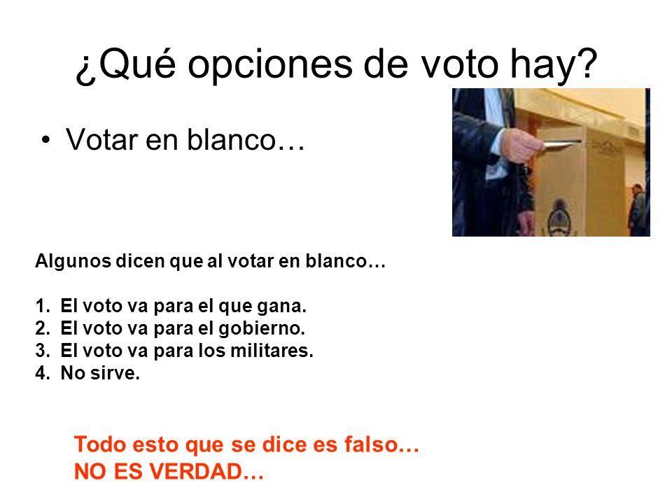 ¿Qué opciones de voto hay? Votar en blanco… Algunos dicen que al votar en blanco… 1.El voto va para el que gana. 2.El voto va para el gobierno. 3.El v