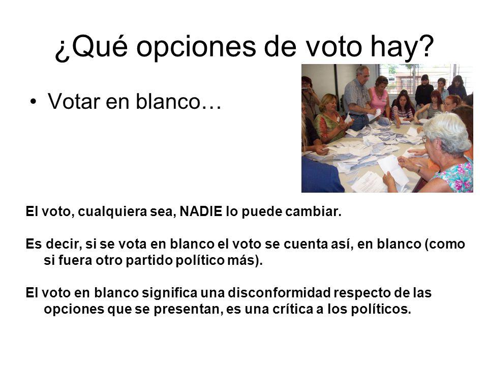 ¿Qué opciones de voto hay? Votar en blanco… El voto, cualquiera sea, NADIE lo puede cambiar. Es decir, si se vota en blanco el voto se cuenta así, en