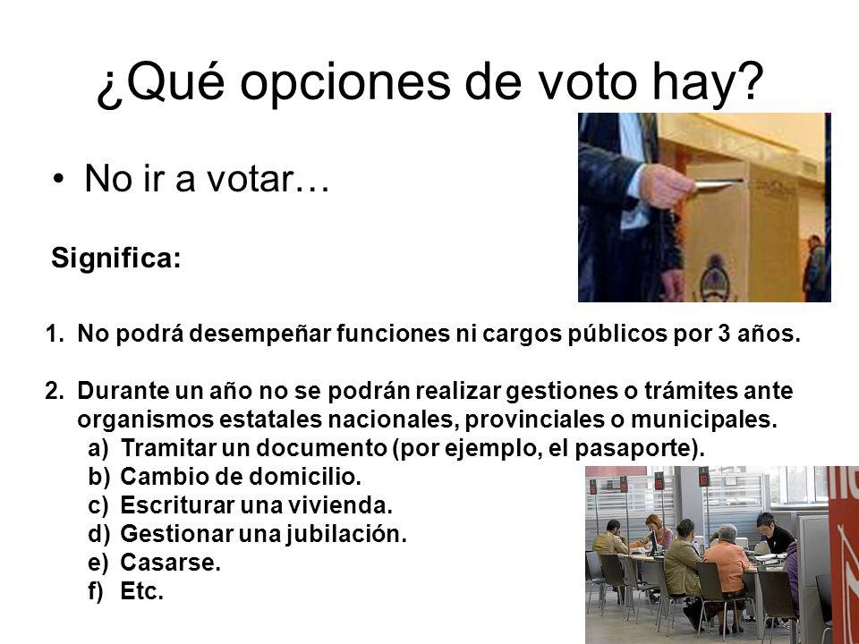 ¿Qué opciones de voto hay? No ir a votar… 1.No podrá desempeñar funciones ni cargos públicos por 3 años. 2.Durante un año no se podrán realizar gestio