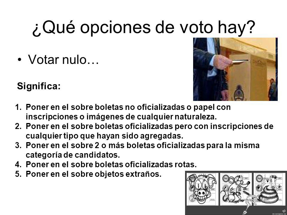 ¿Qué opciones de voto hay? Votar nulo… 1.Poner en el sobre boletas no oficializadas o papel con inscripciones o imágenes de cualquier naturaleza. 2.Po