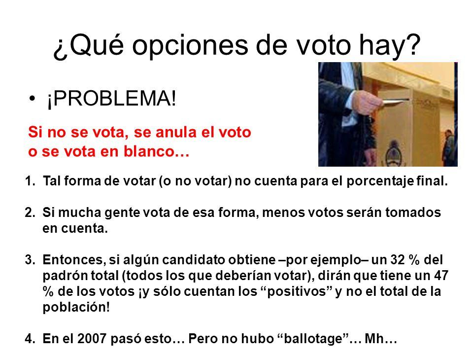 ¿Qué opciones de voto hay? ¡PROBLEMA! 1.Tal forma de votar (o no votar) no cuenta para el porcentaje final. 2.Si mucha gente vota de esa forma, menos