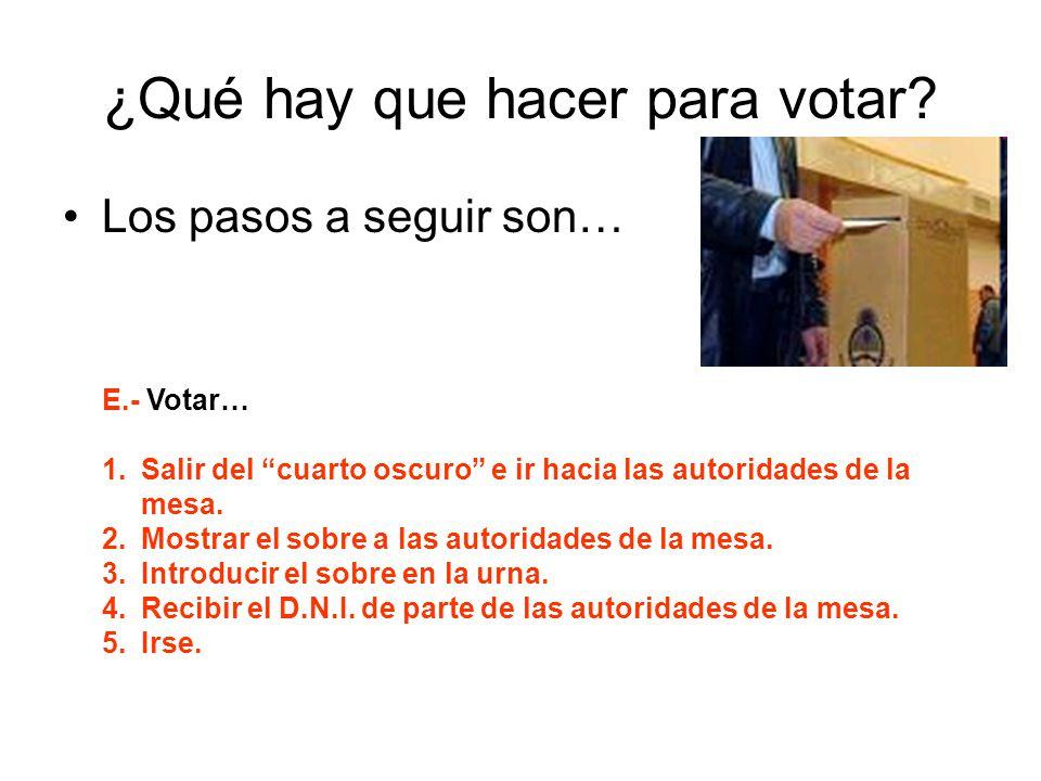 ¿Qué hay que hacer para votar? Los pasos a seguir son… E.- Votar… 1.Salir del cuarto oscuro e ir hacia las autoridades de la mesa. 2.Mostrar el sobre