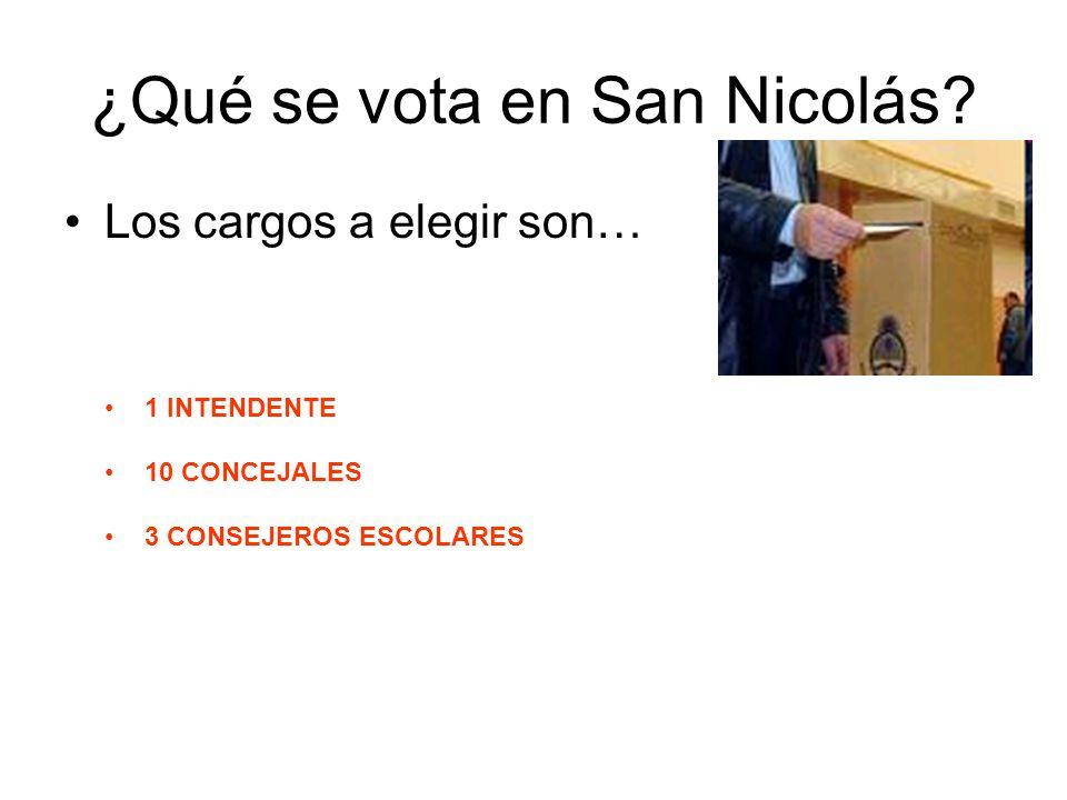 ¿Qué se vota en San Nicolás? Los cargos a elegir son… 1 INTENDENTE 10 CONCEJALES 3 CONSEJEROS ESCOLARES