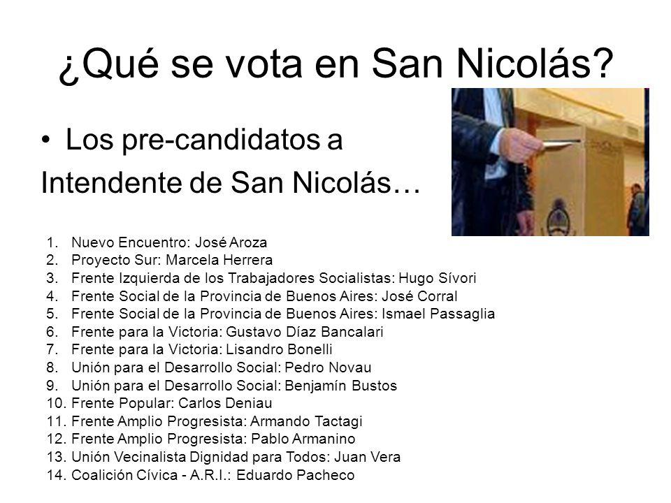 ¿Qué se vota en San Nicolás? Los pre-candidatos a Intendente de San Nicolás… 1.Nuevo Encuentro: José Aroza 2.Proyecto Sur: Marcela Herrera 3.Frente Iz