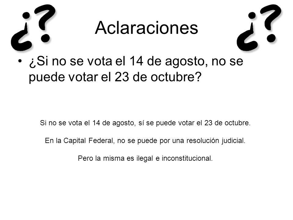 Aclaraciones ¿Si no se vota el 14 de agosto, no se puede votar el 23 de octubre? Si no se vota el 14 de agosto, sí se puede votar el 23 de octubre. En