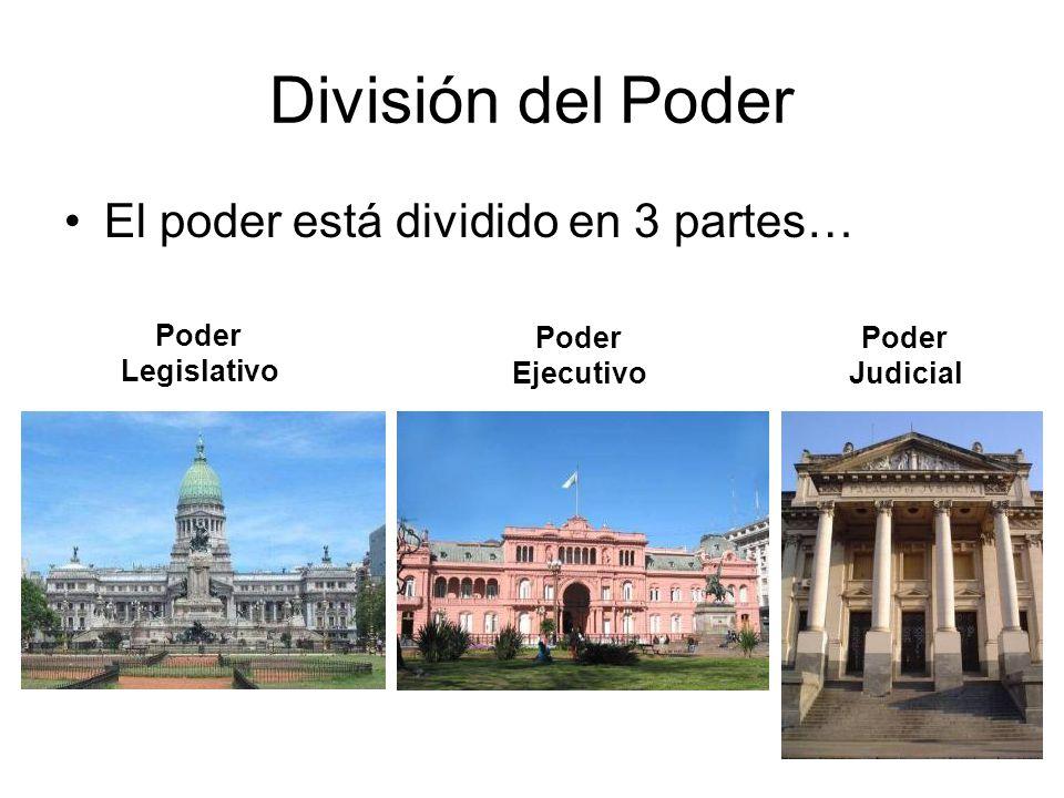 División del Poder El poder está dividido en 3 partes… Poder Legislativo Poder Ejecutivo Poder Judicial