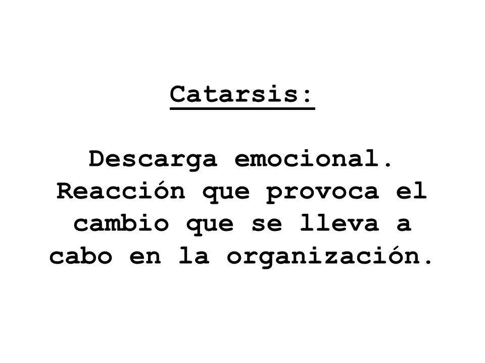 Catarsis: Descarga emocional. Reacción que provoca el cambio que se lleva a cabo en la organización.