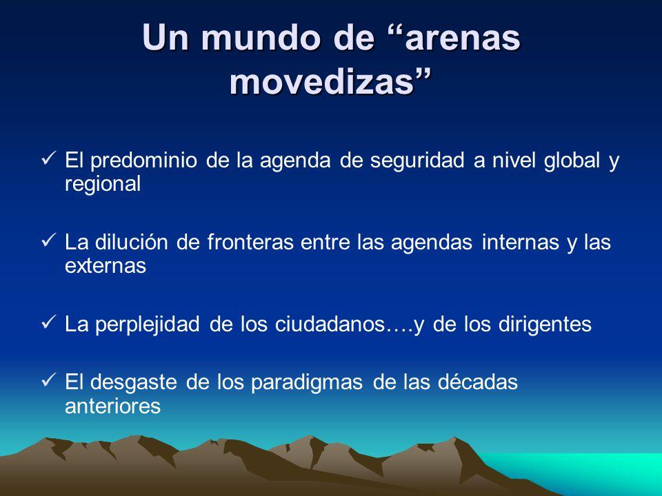 Un mundo de arenas movedizas El predominio de la agenda de seguridad a nivel global y regional La dilución de fronteras entre las agendas internas y l