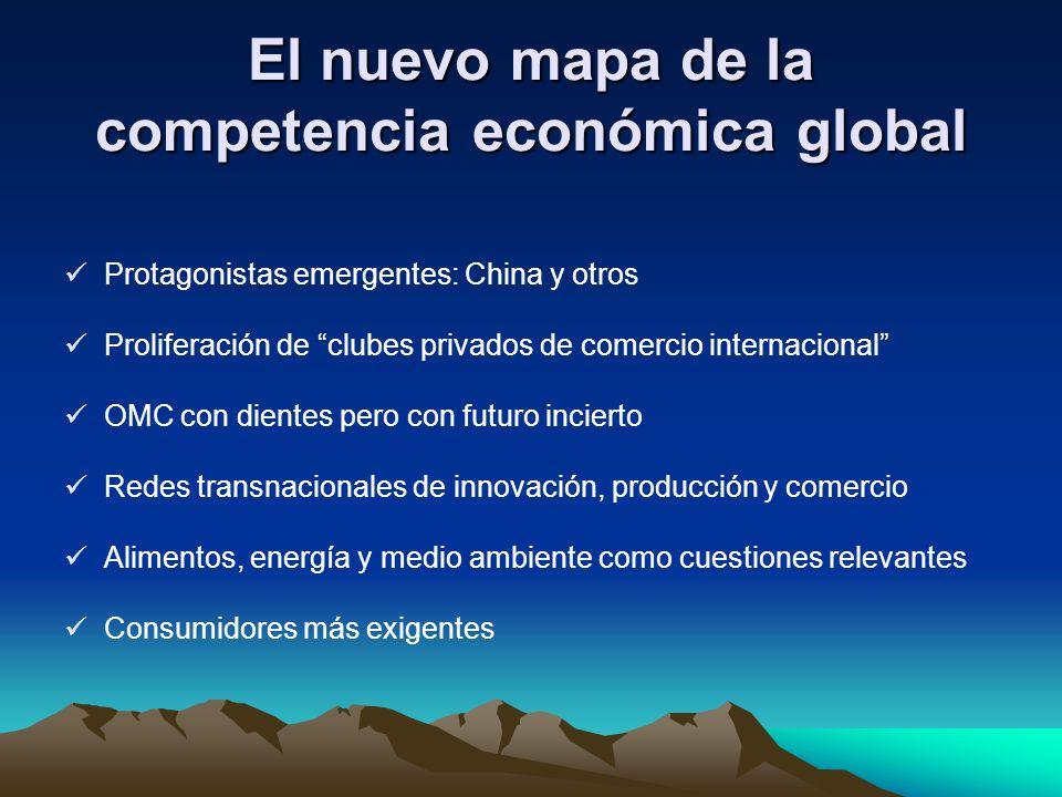 El nuevo mapa de la competencia económica global Protagonistas emergentes: China y otros Proliferación de clubes privados de comercio internacional OM