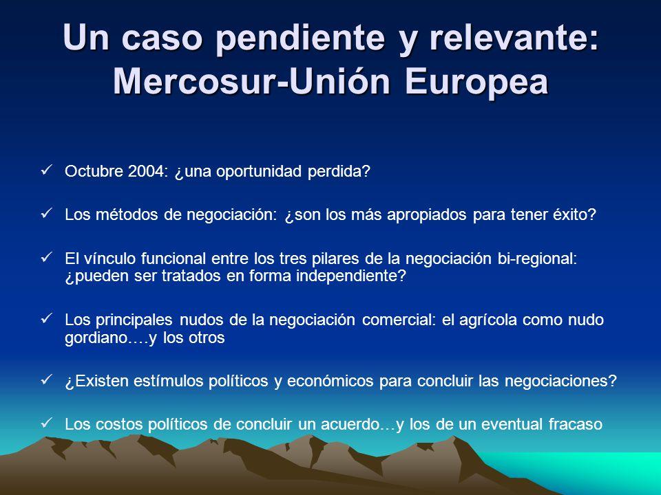 Un caso pendiente y relevante: Mercosur-Unión Europea Octubre 2004: ¿una oportunidad perdida? Los métodos de negociación: ¿son los más apropiados para