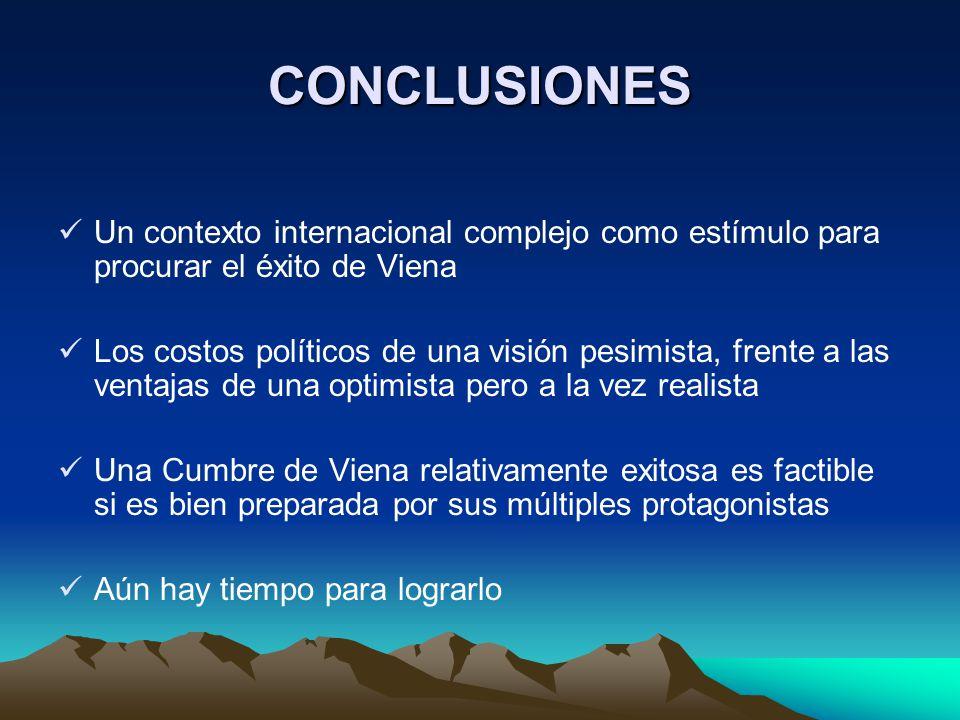 CONCLUSIONES Un contexto internacional complejo como estímulo para procurar el éxito de Viena Los costos políticos de una visión pesimista, frente a l