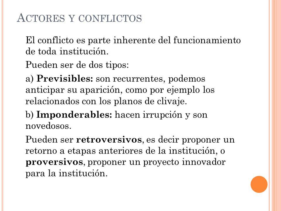 A CTORES Y CONFLICTOS El conflicto es parte inherente del funcionamiento de toda institución.