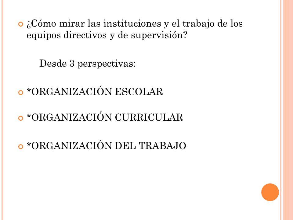 ¿Cómo mirar las instituciones y el trabajo de los equipos directivos y de supervisión.