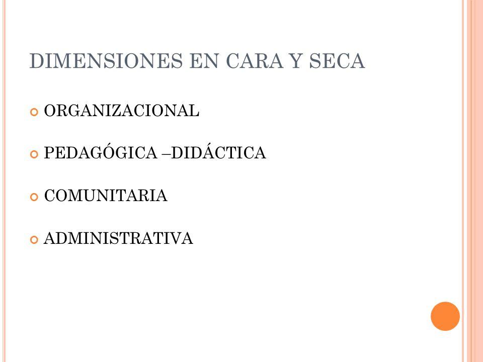 DIMENSIONES EN CARA Y SECA ORGANIZACIONAL PEDAGÓGICA –DIDÁCTICA COMUNITARIA ADMINISTRATIVA