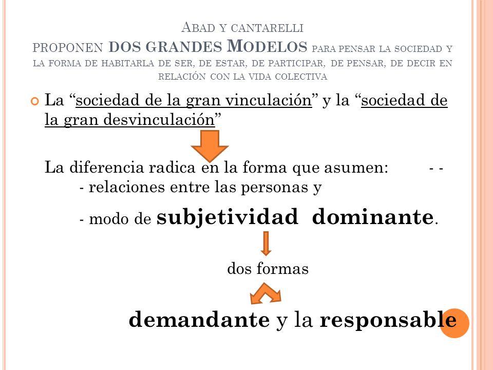A BAD Y CANTARELLI PROPONEN DOS GRANDES M ODELOS PARA PENSAR LA SOCIEDAD Y LA FORMA DE HABITARLA DE SER, DE ESTAR, DE PARTICIPAR, DE PENSAR, DE DECIR EN RELACIÓN CON LA VIDA COLECTIVA La sociedad de la gran vinculación y la sociedad de la gran desvinculación La diferencia radica en la forma que asumen: - - - relaciones entre las personas y - modo de subjetividad dominante.