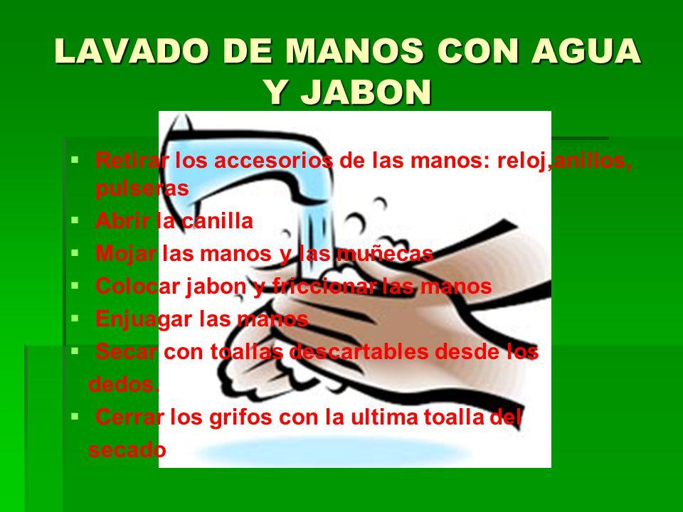 LAVADO DE MANOS CON AGUA Y JABON Retirar los accesorios de las manos: reloj,anillos, pulseras Abrir la canilla Mojar las manos y las muñecas Colocar j
