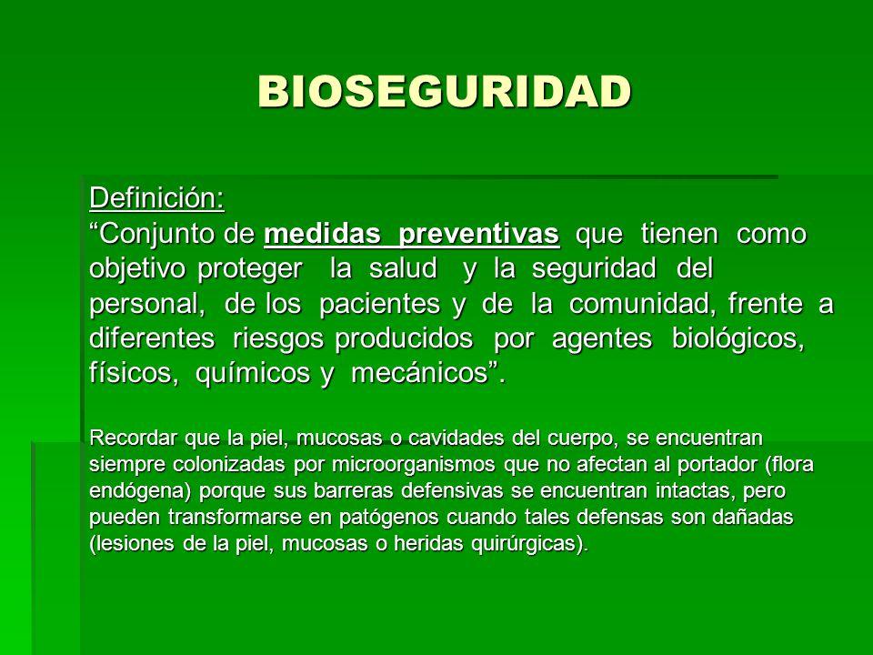 BIOSEGURIDAD Definición: Conjunto de medidas preventivas que tienen como objetivo proteger la salud y la seguridad del personal, de los pacientes y de