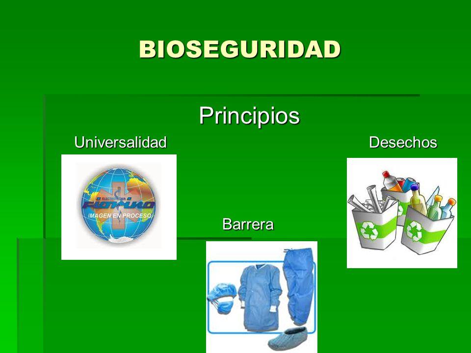 BIOSEGURIDAD Principios Universalidad Desechos Universalidad Desechos Barrera Barrera