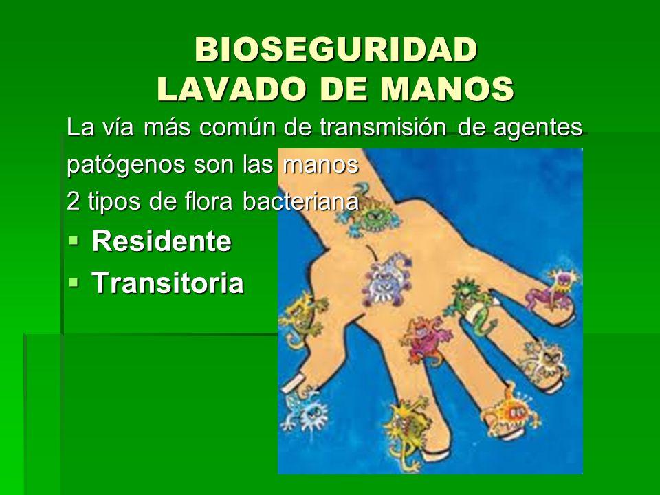 BIOSEGURIDAD LAVADO DE MANOS La vía más común de transmisión de agentes patógenos son las manos 2 tipos de flora bacteriana Residente Residente Transi