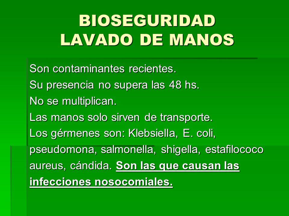 BIOSEGURIDAD LAVADO DE MANOS Son contaminantes recientes. Su presencia no supera las 48 hs. No se multiplican. Las manos solo sirven de transporte. Lo
