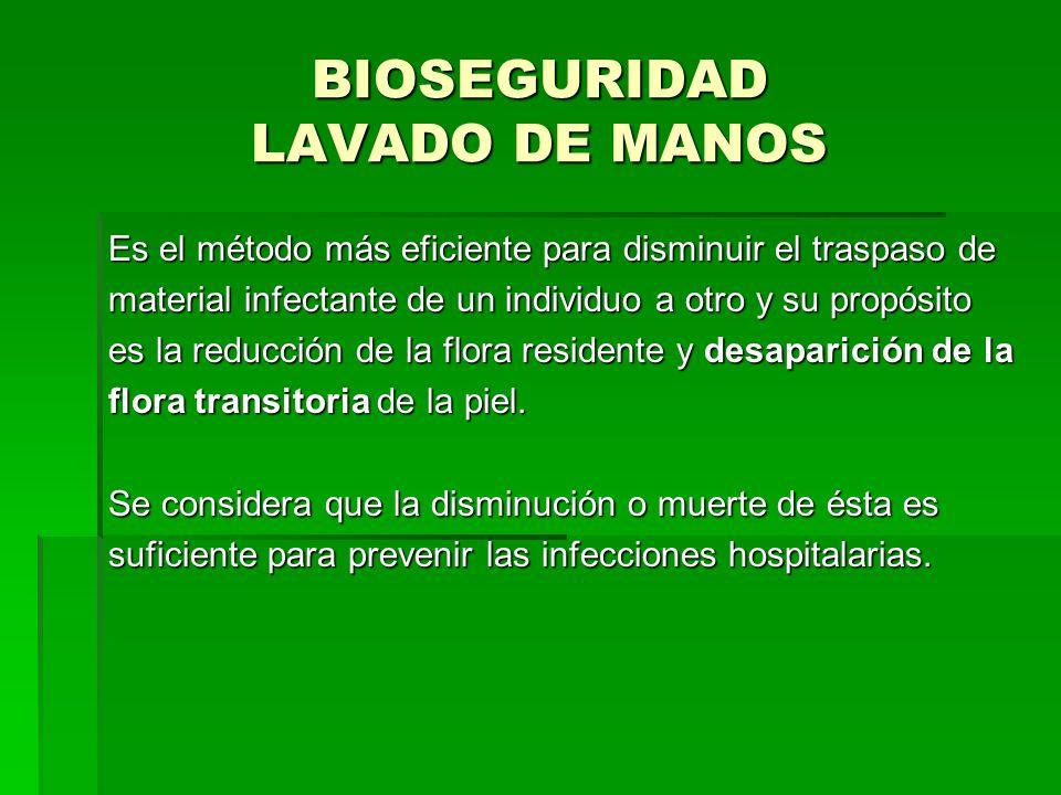 BIOSEGURIDAD LAVADO DE MANOS Es el método más eficiente para disminuir el traspaso de material infectante de un individuo a otro y su propósito es la