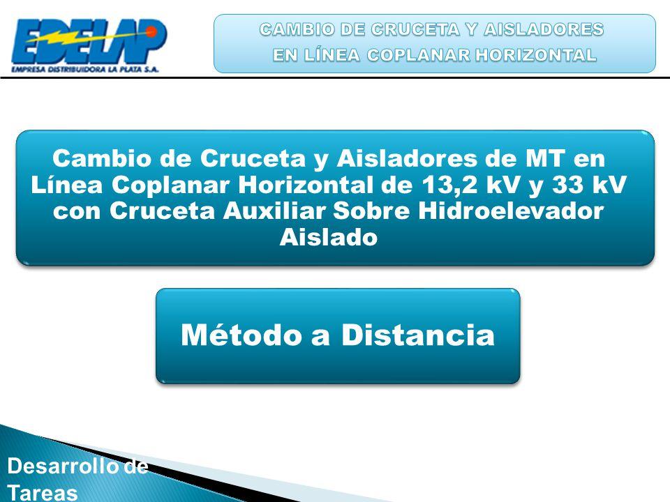 Desarrollo de Tareas Cambio de Cruceta y Aisladores de MT en Línea Coplanar Horizontal de 13,2 kV y 33 kV con Cruceta Auxiliar Sobre Hidroelevador Ais