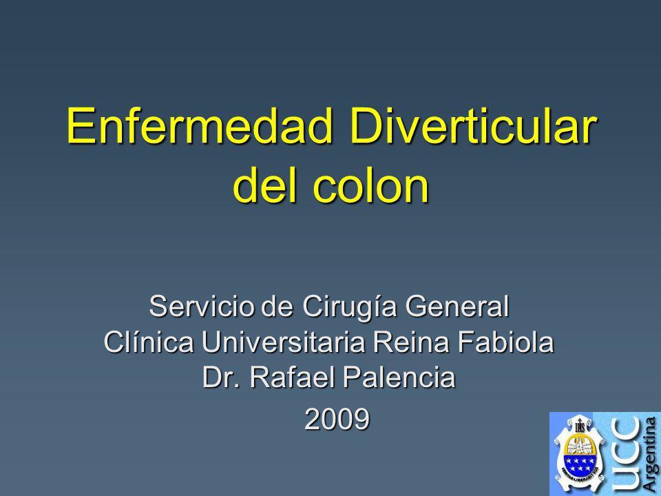 Enfermedad Diverticular del colon Servicio de Cirugía General Clínica Universitaria Reina Fabiola Dr. Rafael Palencia 2009 2009