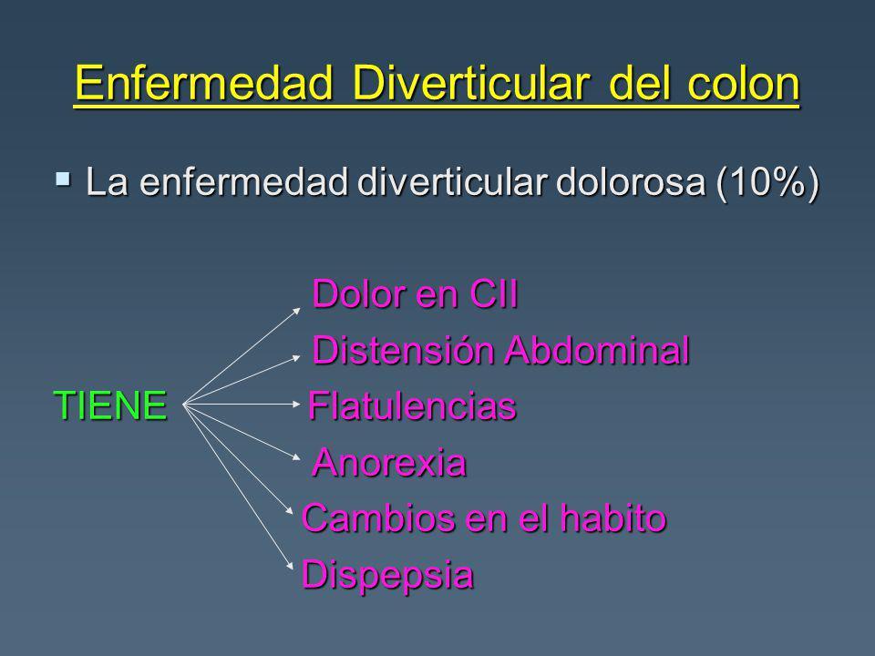 Enfermedad Diverticular del colon La enfermedad diverticular dolorosa (10%) La enfermedad diverticular dolorosa (10%) Dolor en CII Dolor en CII Disten
