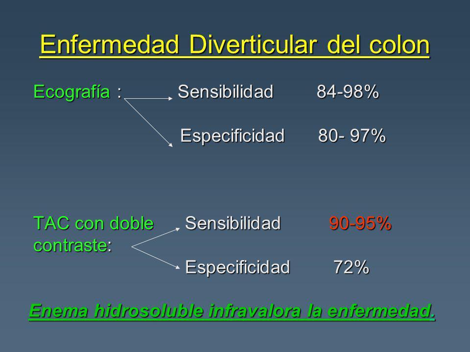 Enfermedad Diverticular del colon Ecografía : Sensibilidad 84-98% Ecografía : Sensibilidad 84-98% Especificidad 80- 97% Especificidad 80- 97% TAC con doble Sensibilidad 90-95% TAC con doble Sensibilidad 90-95% contraste: contraste: Especificidad 72% Especificidad 72% Enema hidrosoluble infravalora la enfermedad.